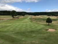View from the clubhouse back down the 18th at Hollinwell